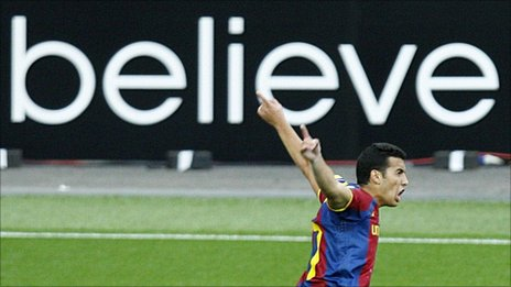 Pedro celebrates after scoring for Barcelona