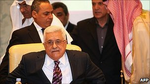 Mahmoud Abbas at the Arab League meeting