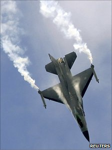 File picture of a US Lockheed Martin F-16 at an air display at the Farnborough International Air Show