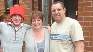 Thomas Buckett and his parents, Mandy and Andrew - archive image