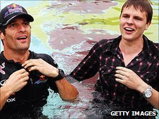 Red Bull's Mark Webber and BBC F1 presenter Jake Humphrey