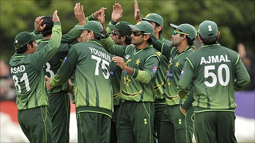 Pakistan celebrate the fall of an Irish wicket in the first one-day international at Stormont