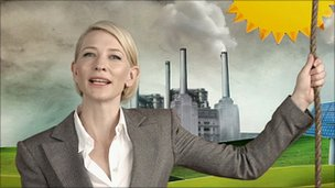 Actress Cate Blanchett appears in a television ad to support a proposed carbon tax