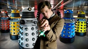 Matt Smith as the Doctor and the Daleks