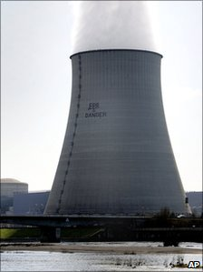 Environmentalist group Greenpeace activists are suspended next to protest banner on one of the cooling towers of the nuclear plant of Belleville-sur-Loire, central France, in March 2007