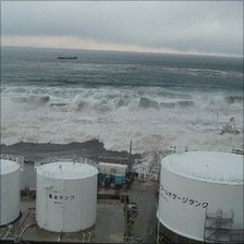 Tsunami breaching the power plant's defences (Image: TEPCO)