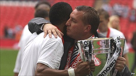 Swansea boss Brendan Rodgers hugs play-off final hat-trick hero Scott Sinclair