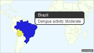 Screenshot of dengue fever map