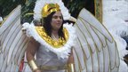 Participant dressed as a Greek goddess at Luton International Carnival 2011