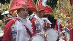 A band in costume at Luton International Carnival 2011