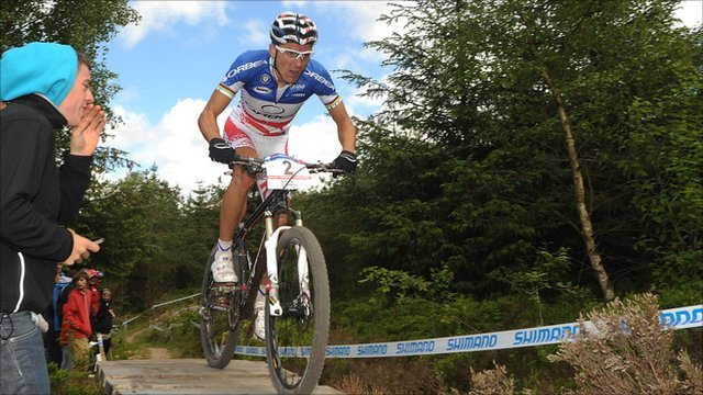 French mountain biker Julien Absalon at Dalby Forest World Cup