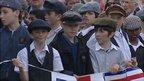Children dressed in period costumes for Titanic event