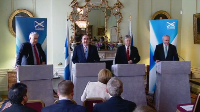 First Minister of Wales Carwyn Jones, First Minister of Scotland Alex Salmond, Northern Ireland's First Minister Peter Robinson and Deputy First Minister Martin McGuinness