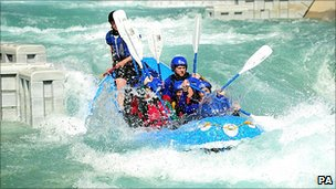 People trying out the Olympic Canoeing course at the Lee Valley White Water Centre Hertfordshire
