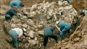 mass grave found in 1996, containing victims of the Srebrenica massacre