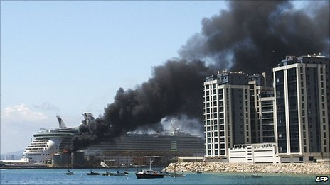 An oil tank explodes in the port of Gibraltar on May 31, 2011