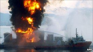Explosion at fuel depot