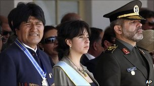 "Bolivian President Evo Morales, left, Iran""s Defence Minister Ahmad Vahidi, right, and Bolivia's Defence Minister Maria Cecilia Chacon, centre, at a military ceremony in Santa Cruz, Bolivia"
