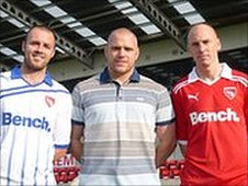 Will Haining (l), Jim Bentley (c), Kevin Ellison (r) Pic: Morecambe FC
