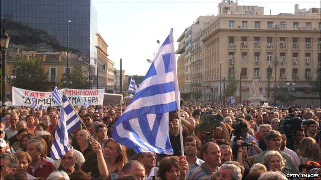 Greek protest rally in front of Athens University