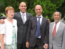 Michael Dixon (second right) with his parents and brother David