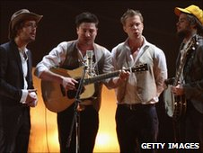 Mumford and Sons perform at the 2001 BRIT Awards ceremony