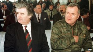 Radovan Karadzic and Ratko Mladic in the Bosnian Serb capital Pale, undated photo