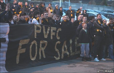 A section of Port Vale supporters protested after most home games last season