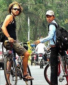 Tim and Laim riding their bikes