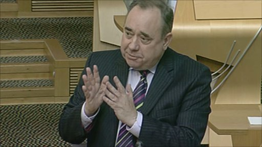 First Minister Alex Salmond gives answers during first minister's questions.