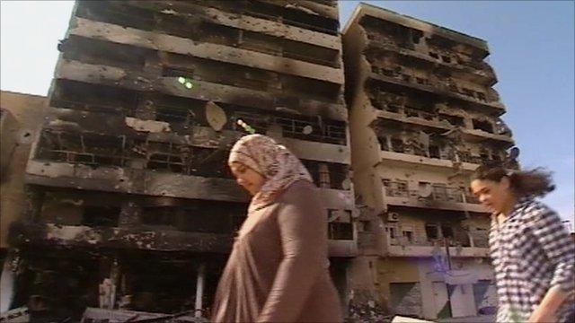 Damaged buildings in Misrata