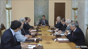 President Assad meeting officials - Sana news agency handout photo released 1 June