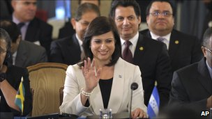 Honduras&#039;s representative Maria Antonieta Guillen at the OAS in Washington after the vote