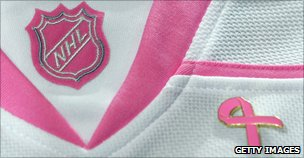 Pink ribbon on shirt for NHL's Hockey Fights Cancer initiative