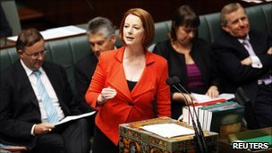 Julia Gillard in parliament, 10 May 2011