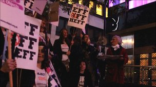 Eff Off Hef protest outside club