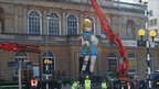 Damien Hirst's 22ft Charity statue at the Royal West of England Academy in Bristol