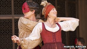 Charles Edwards and Eve Best as  Shakespeare's sparring lovers Beatrice and Benedick at Shakespeare's Globe