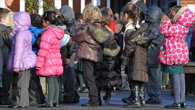 Primary school children in a queue