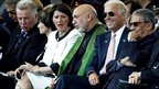 From left, Hungarian President Pal Schmitt, Swiss President Micheline Calmy-Rey, Kosovo President Atifete Jahjaga, Afghan President Hamid Karzai, US Vice President Joe Biden and Arab League chief Amr Moussa