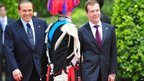 Italy's Prime Minister Silvio Berlusconi greets Russia's President Dmitry Medvedev during a meeting on June 2, 2011 at Villa Pamphili in Rome.