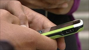 Person using mobile, BBC