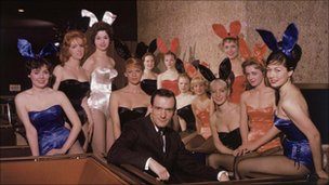Hugh Hefner with Bunnies in Chicago, 1966
