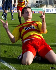 Paddy Boyle celebrates scoring for Partick Thistle