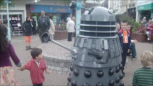 Daleks at a sci-fi event