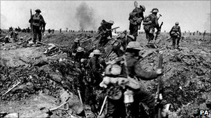 British troops prepare to go over the top during the battle of the Somme in World War I