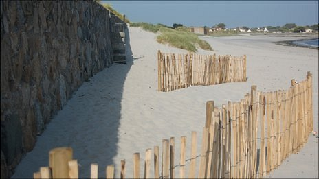 Coastal defence fences at Richmond, Guernsey