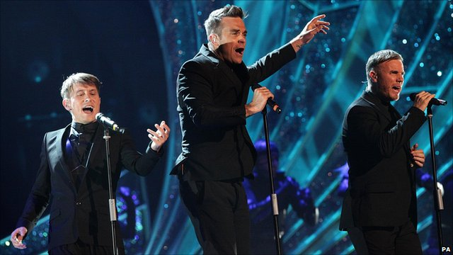 Mark Owen, Robbie Williams and Gary Barlow of Take That