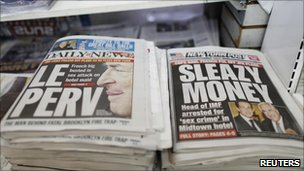 "Front pages of the New York Daily News and the New York Post headlined ""Sleazy money"" and ""Le Perv"""