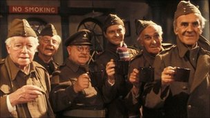 The cast of Dad's Army, pictured in 1977